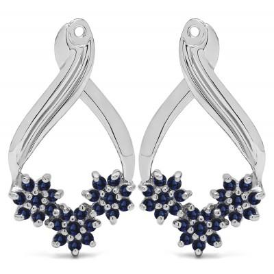 0.54 Carat Sapphire Triple Flower Cluster Earring Jackets