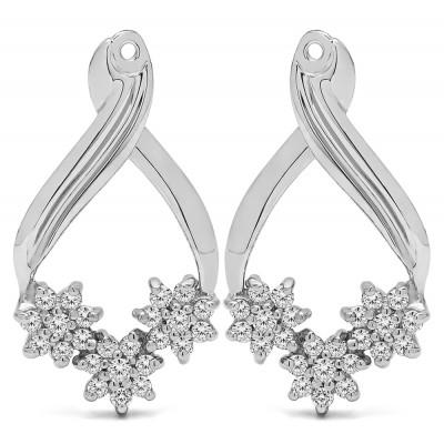 0.54 Carat Triple Flower Cluster Earring Jackets