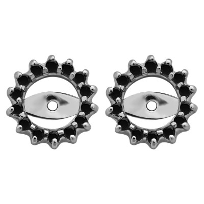 0.28 Carat Black Shared Prong Round Halo Earring Jackets
