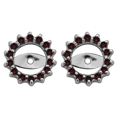0.28 Carat Ruby Shared Prong Round Halo Earring Jackets