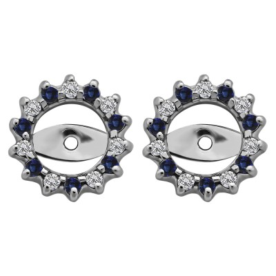 0.28 Carat Sapphire and Diamond Shared Prong Round Halo Earring Jackets