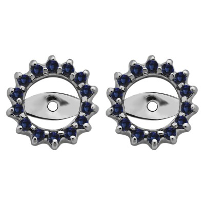0.28 Carat Sapphire Shared Prong Round Halo Earring Jackets
