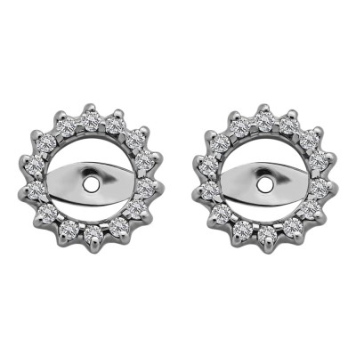0.28 Carat Shared Prong Round Halo Earring Jackets