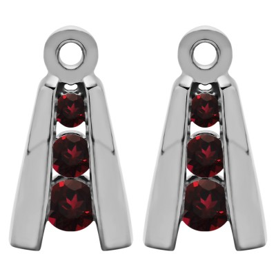 0.2 Carat Ruby Round Channel Three Stone Earring Jackets