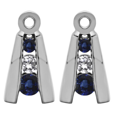 0.2 Carat Sapphire and Diamond Round Channel Three Stone Earring Jackets