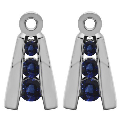 0.2 Carat Sapphire Round Channel Three Stone Earring Jackets