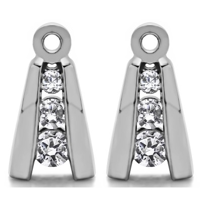 0.2 Carat Round Channel Three Stone Earring Jackets