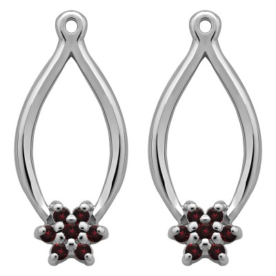 0.22 Carat Ruby Round Shared Prong Flower Earring Jackets