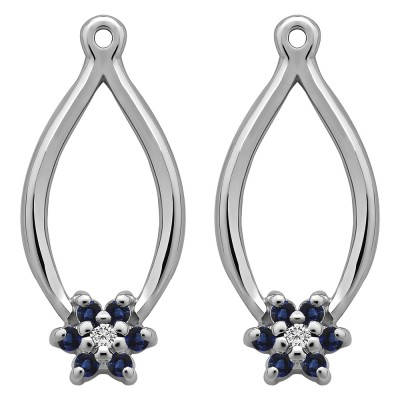 0.22 Carat Sapphire and Diamond Round Shared Prong Flower Earring Jackets