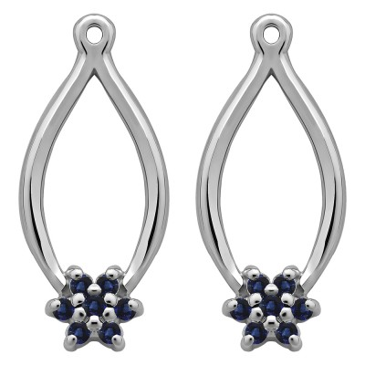0.22 Carat Sapphire Round Shared Prong Flower Earring Jackets