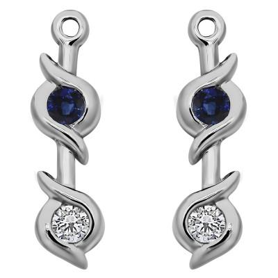 0.2 Carat Sapphire and Diamond Bypass Bezel Two Stone Earring Jacket