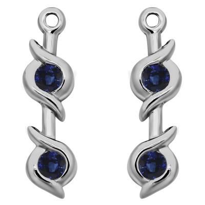 0.2 Carat Sapphire Bypass Bezel Two Stone Earring Jacket
