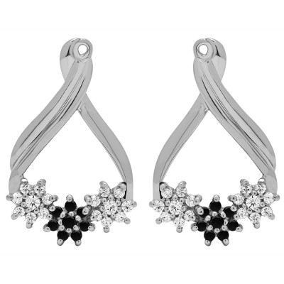 0.51 Carat Black and White Bypass Round Flower Earring Jackets
