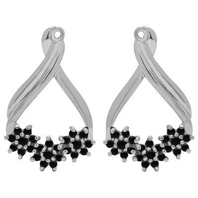 0.51 Carat Black Bypass Round Flower Earring Jackets