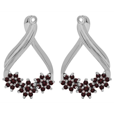 0.51 Carat Ruby Bypass Round Flower Earring Jackets