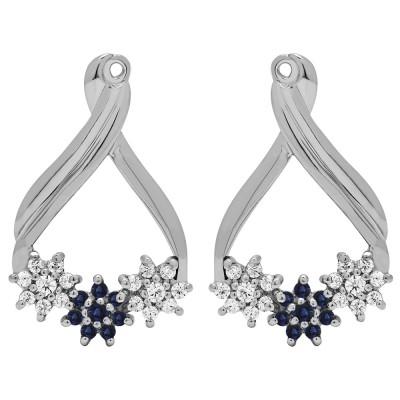 0.51 Carat Sapphire and Diamond Bypass Round Flower Earring Jackets