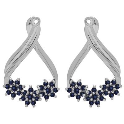 0.51 Carat Sapphire Bypass Round Flower Earring Jackets