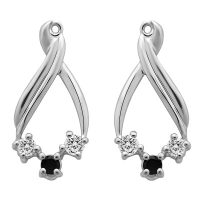 0.52 Carat Black and White Three Stone Chandalier Earring Jackets