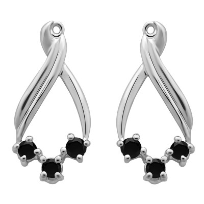 0.52 Carat Black Three Stone Chandalier Earring Jackets