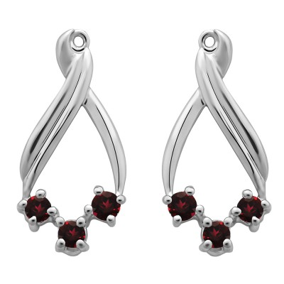 0.52 Carat Ruby Three Stone Chandalier Earring Jackets