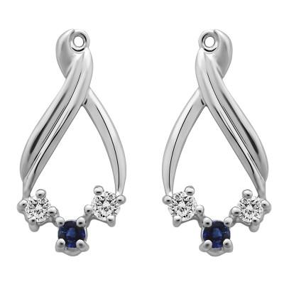 0.52 Carat Sapphire and Diamond Three Stone Chandalier Earring Jackets