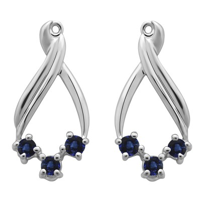 0.52 Carat Sapphire Three Stone Chandalier Earring Jackets