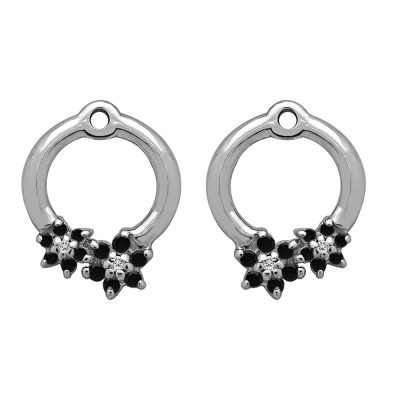 0.19 Carat Black and White Double Flower Prong Set Earing Jackets