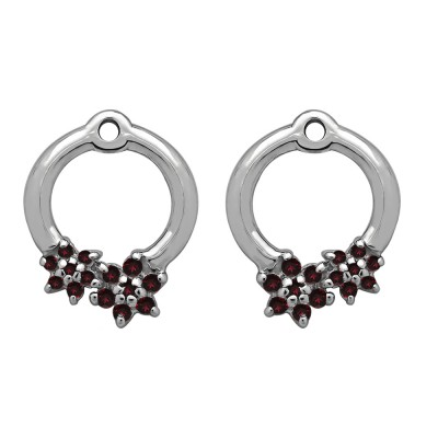 0.19 Carat Ruby Double Flower Prong Set Earing Jackets