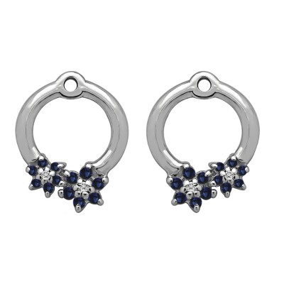 0.19 Carat Sapphire and Diamond Double Flower Prong Set Earing Jackets