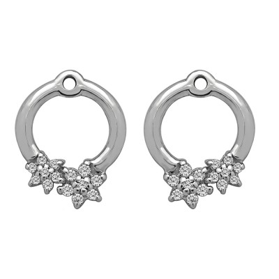 0.19 Carat Double Flower Prong Set Earing Jackets