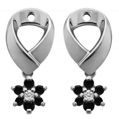 0.22 Carat Black and White Flower Dangle Earring Jackets