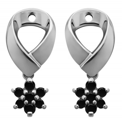 0.22 Carat Black Flower Dangle Earring Jackets