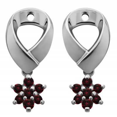 0.22 Carat Ruby Flower Dangle Earring Jackets
