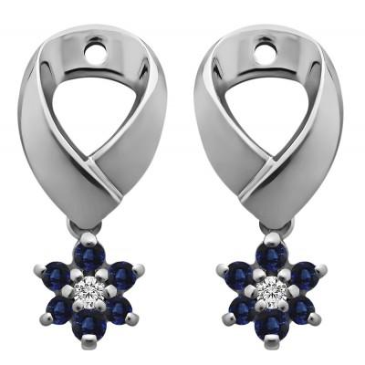 0.22 Carat Sapphire and Diamond Flower Dangle Earring Jackets