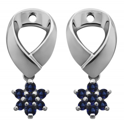 0.22 Carat Sapphire Flower Dangle Earring Jackets