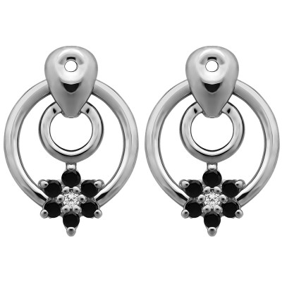 0.28 Carat Black and White Double Circle Flower Dangle Earring Jackets
