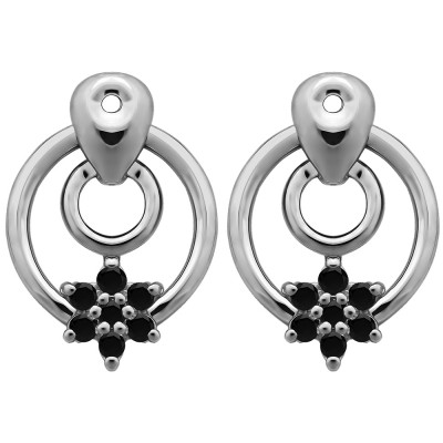 0.28 Carat Black Double Circle Flower Dangle Earring Jackets