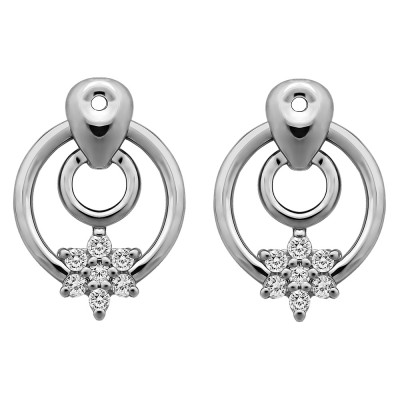 0.28 Carat Double Circle Flower Dangle Earring Jackets