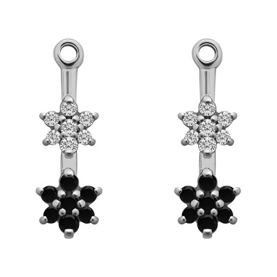 0.19 Carat Black and White Double Flower Dangle Earring Jackets