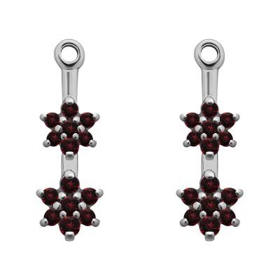 0.19 Carat Ruby Double Flower Dangle Earring Jackets