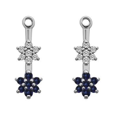0.19 Carat Sapphire and Diamond Double Flower Dangle Earring Jackets