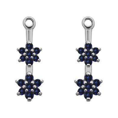 0.19 Carat Sapphire Double Flower Dangle Earring Jackets