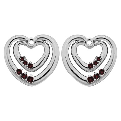 0.22 Carat Ruby Double Heart Shaped Earring Jackets
