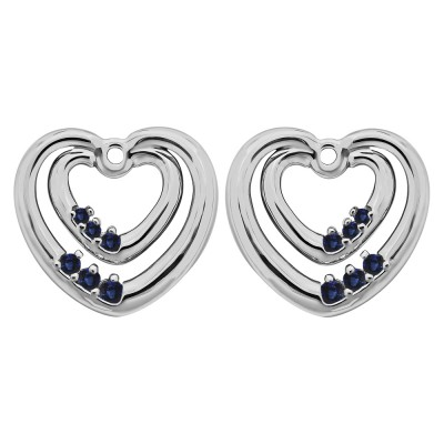 0.22 Carat Sapphire Double Heart Shaped Earring Jackets