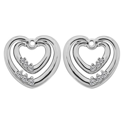 1/5 ct. TwoBirch Brilliant Moissanite Heart Shaped Earring Jackets in Sterling Silver (0.19 ct. twt.)