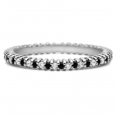 Black and White Stone Stackable 1.5mm Double Shared Prong Eternity Ring