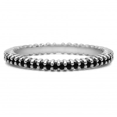 Black Stone Stackable 1.5mm Double Shared Prong Eternity Ring