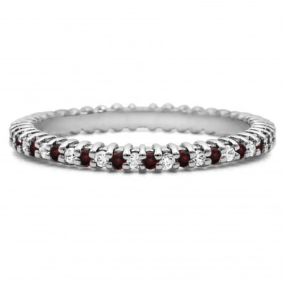 Ruby and Diamond Stackable 1.5mm Double Shared Prong Eternity Ring