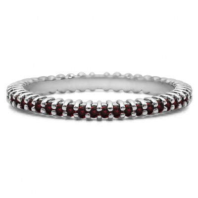 Ruby Stackable 1.5mm Double Shared Prong Eternity Ring