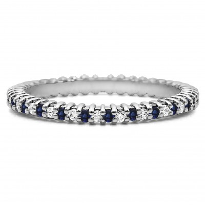 Diamond and Sapphire Stackable 1.5mm Double Shared Prong Eternity Ring
